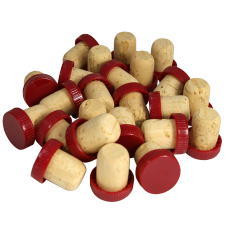 Plastic Top Flanged Corks / Wine Stoppers - Red - Pack of 24