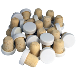 Plastic Top Flanged Corks / Wine Stoppers - White - Pack of 24