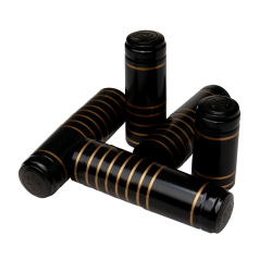 Shrink Capsules - For Wine Bottles - Black With Gold Bands - Pack of 30