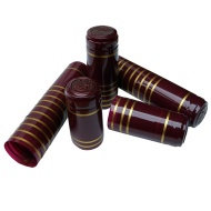 Shrink Capsules - For Wine Bottles - Red With Gold Bands - Pack of 30