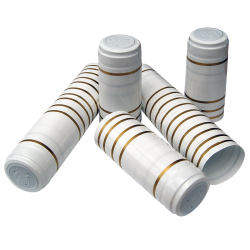 Shrink Capsules - For Wine Bottles - White With Gold Bands - Pack of 30