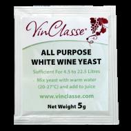 VinClasse Wine Making Yeast - All Purpose White - 5g Sachet